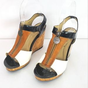 Geox Respira D Victory colorblock leather zipper wedge sandal black white tan